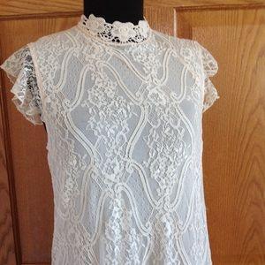 Lace Overlay Ivory Lined Dress Mandarin Collar EUC